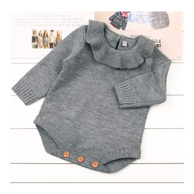 grey knitted ruffle baby girl soft romper
