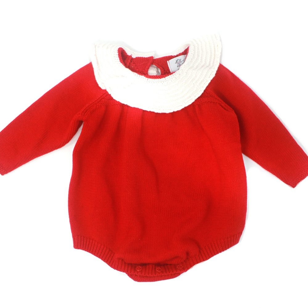 Baby Girls ruffle collar red holiday bubble romper