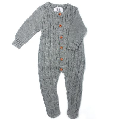 girls and boys grey knitted footed romper once