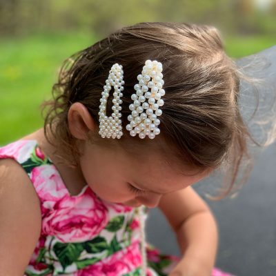 beautiful girls pearl hairclip