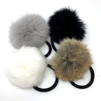 girls fur hair ties